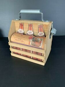 Wooden Six Pack Drink Carrier Caddy Metal Handle Beer Soda Bottle Opener Picnic