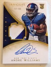 2014 PANINI IMMACULATE ANDRE WILLIAMS RC RPA JERSEY PATCH AUTO 2/99 GIANTS