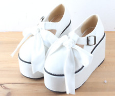 Womens Sweet Round Toe Creeper Party Bowknot Canvas Uk2.5-6 Platform Shoes