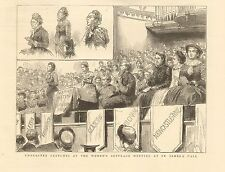 1884 ANTIQUE PRINT-Character Sketches, Women's suffrage Meeting at St James Ha