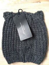 Zara Ribbed Beanie Hat with Ears Grey S-M One Size