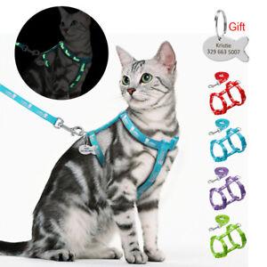 Reflective Cat Harness & Walking Leash Panda Printed Set Kitten Engraved ID Tags