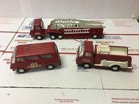 1970s Vintage Tonka Trucks Hook & Ladder Fire Engine & Fire Chief Lot of 3 Steel