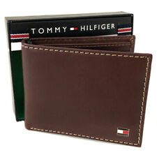 New TOMMY HILFIGER Men's Brown Leather Wallet Valet (RFID Protection) Gift Boxed