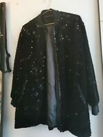 Zara Velvet Sequin Oversized Longline Bomber Jacket Black - SIZE S. uk 6 8 10 12