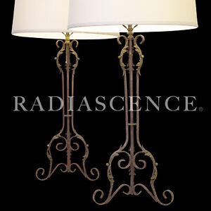PAIR XXL NEO CLASSIC GOTHIC WROUGHT IRON TABLE LAMPS FRENCH COUNTRY regency 1940