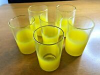Vintage Mid Century Modern MCM Blendo juice glasses yellow frosted glass set bar