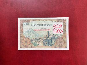Maroc Billet 5000 Francs 23.07.1953 Surcharge 50 Dirhams Alph M.298
