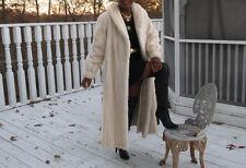 Mint Full Length Designer Cream blond white Mink Fur Coat stroller S-M 4-10