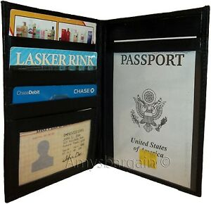 New soft lamb skin leather passport case 6 credit card ID large billfold bnwt++*