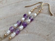 b13bb0c1e White Freshwater Seed Pearls & Amethyst Gemstones 14ct Rolled Gold Earrings