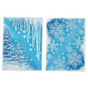 Glitter Window Corner Cling Sticker Decal Xmas Snowflake Icicle Christmas Tree