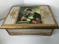 Vintage Florentine Gold Gilt Wood Jewelry Box Toleware Japan Tole