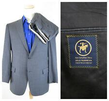 Hart Schaffner Marx Gold Trumpeter Gray Blue Pinstripe Suit 46R Pants 40 X 32