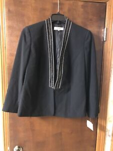 New Kasper Women's Plus Size Shawl Collar Fly Away Crepe Jacket Size 14W