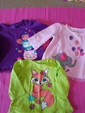 3X Infant Girls Jumping Beans L/S Shirts With Lace Around Bottom Size 6 Mos