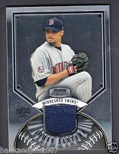Johan Santana 2007 Bowman Sterling Game Worn Jersey Card Twins