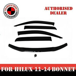 Bonnet Protector & WeatherShields For Toyota Hilux 2011-2014 Window Visors