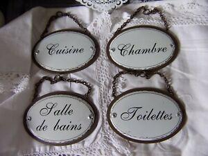 1 plaque de porte métal effet rouillé émail shabby vintage 11.5cm cuisine wc