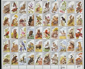 USA Scott 2286-2335: 22c Full Sheet 50, Animals Birds Insects with FOLDER, VF-NH