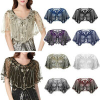 Women Retro Vintage 1920s Sequin Beaded Bolero Shrug Shawl Cardigan Top Cover Up