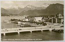 AK  gelaufen 1952  Luzern. Seebrücke, Bahnhof, Kongressgebäude und die Alpen