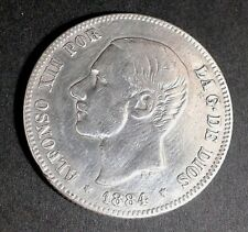 Moneda española de plata de 2 pesetas de 1884