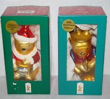 Midwest of Cannon Falls Classic Pooh 1997 1998 Blown Glass Ornaments Set of 2