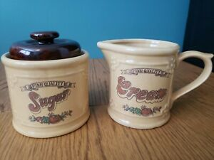 Vintage Style 70s Tan Brown Illustrated Sugar and Creamer Pitcher Set