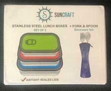 Suncraft Stainless Bento Lunch Boxes (Blue/Red/Green) + Fork & Spoon New in Box