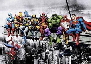Super Heros Metal Sign Spider Man Marvel DC Comic Book Avenger Girder New York