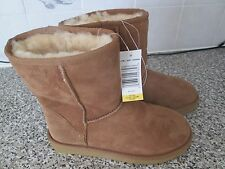 Ladies Sheepskin Boots Kirkland Short Shearling Pull On Boots, UK 4, Chestnut,
