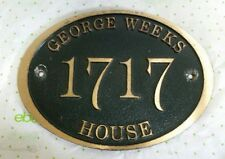 Vintage Solid Bronze Reclaimed House Sign w/Raised Lettering