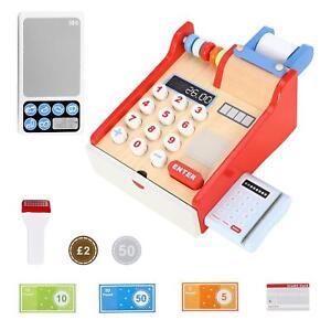 SOKA Wooden Cash Register Children's Shop Grocery Checkout Till Toy