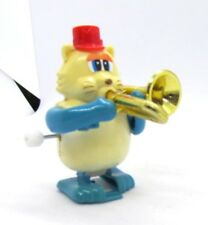 Wind Up Walking Walker Cat Playing Trombone in Red Hat TOMY Vintage Toy