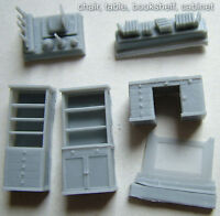 A Room furniture set: chair,table,bookshelf,cabinet,commode,wardrobe 1/72 resin