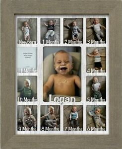 """Baby First Year Personalized Frame - Holds Twelve 2.5"""" x 3.5"""" Newborn Photos"""