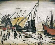 LS Lowry Poster - Cranes and Ships at Glasgow Docks (Picture Painting Art)