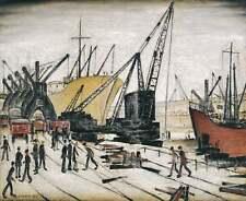 LS Lowry Poster-grúas y se envía en Glasgow Muelles (dibujo pintura arte)