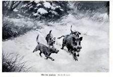 Sauhatz Mit den Findern von W.Arnold Grafik Vignette c.1927