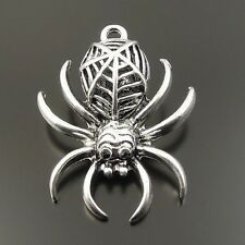 33228 Antique Style Silver Tone Alloy Spider Pendant Jewelry Finding 2pcs