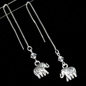 *SJ1* Elephant Sterling Silver Threader Dangle Earrings w/ Swarovski Crystal