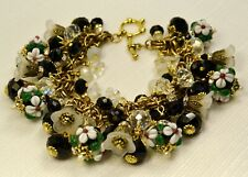 Black White Glass Charm Bracelet Lampwork Beads Crystal on VTG Haskell Chain