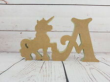 18mm mdf Unicorn and Letter Shape - 200mm high - MDF Wooden Craft Blank