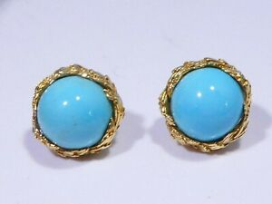 PAIR OF 14K  YELLOW GOLD AND PERSIAN TURQUOISE EARRINGS 11.5 DWT
