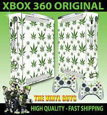 XBOX 360 ORIGINAL CANNABIS LEAF WHITE WEED MARY JANE STICKER SKIN & 2 PAD SKINS