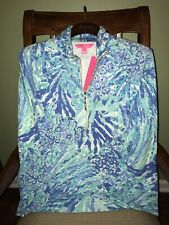Lilly Pulitzer Blue HEY SOLEIL SKIPPER POPOVER 1/2 Zip UPF50+ Pullover SMALL NWT