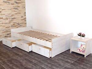 Kinderbett Jugendbett 100x200 Kojenbett Funktionsbett Einzelbett  WEIß-GRAU !!!