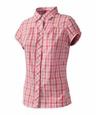 Checked Collared Short Sleeve Women's Blouses