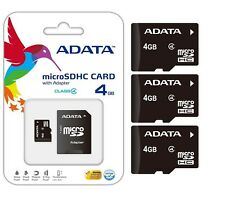 Lot of 3 Adata 4GB 4 GB 4G MicroSD MicroSDHC SDXC Class 4 TF Flash Memory Card